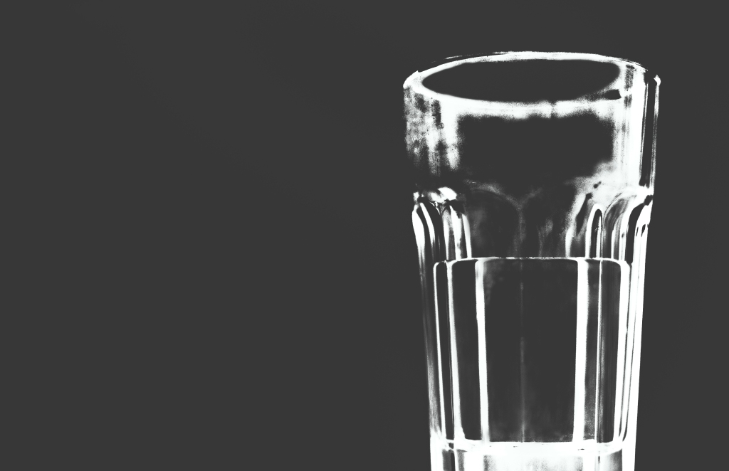Glass of water, still-life abstract photoshop post-process grey monochrome block color colour