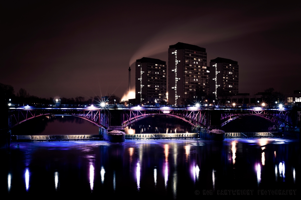 photography photo picture image glasgow scotland architecture building tower blocks flats bridge tidal weir clyde river reflections lights smoke chimney industrial water urban city slow shutter long exposure nikon d700 project365 365project photo a day