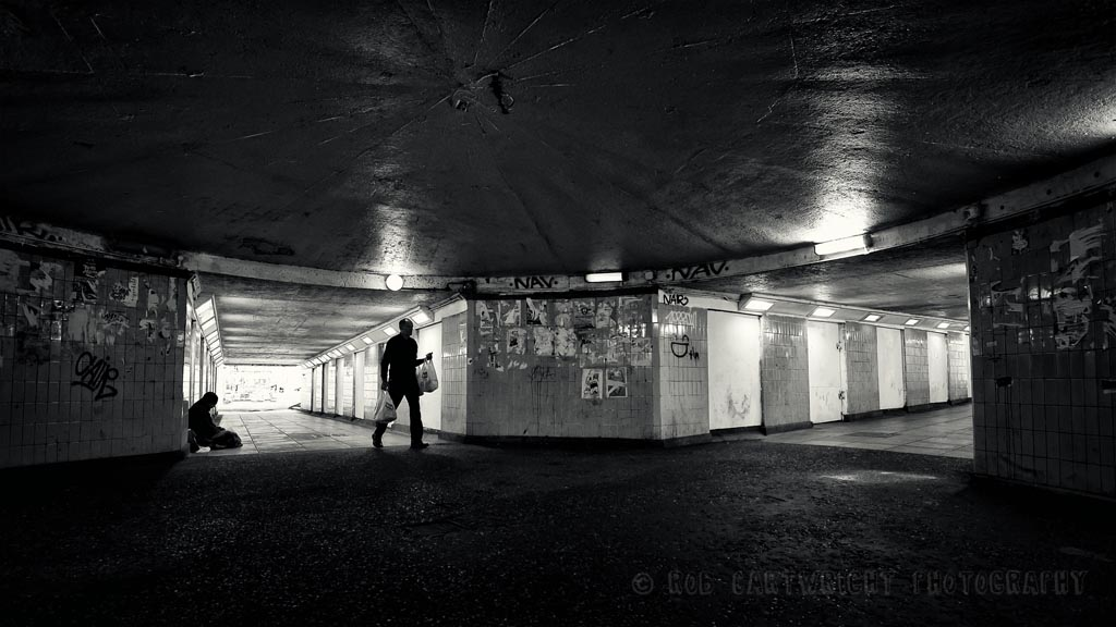 norwich uk underpass subway homeless vagrant begger society photojournalism bw black and white monochrome wide angle urban rob cartwright D700